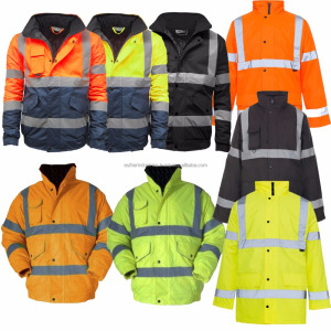 e827b18f9 Brand New Wholesale Hi Viz High Visibility Waterproof Bomber Safety Work  Yellow Orange Jacket/Hi Viz Reflective Bomber jacket