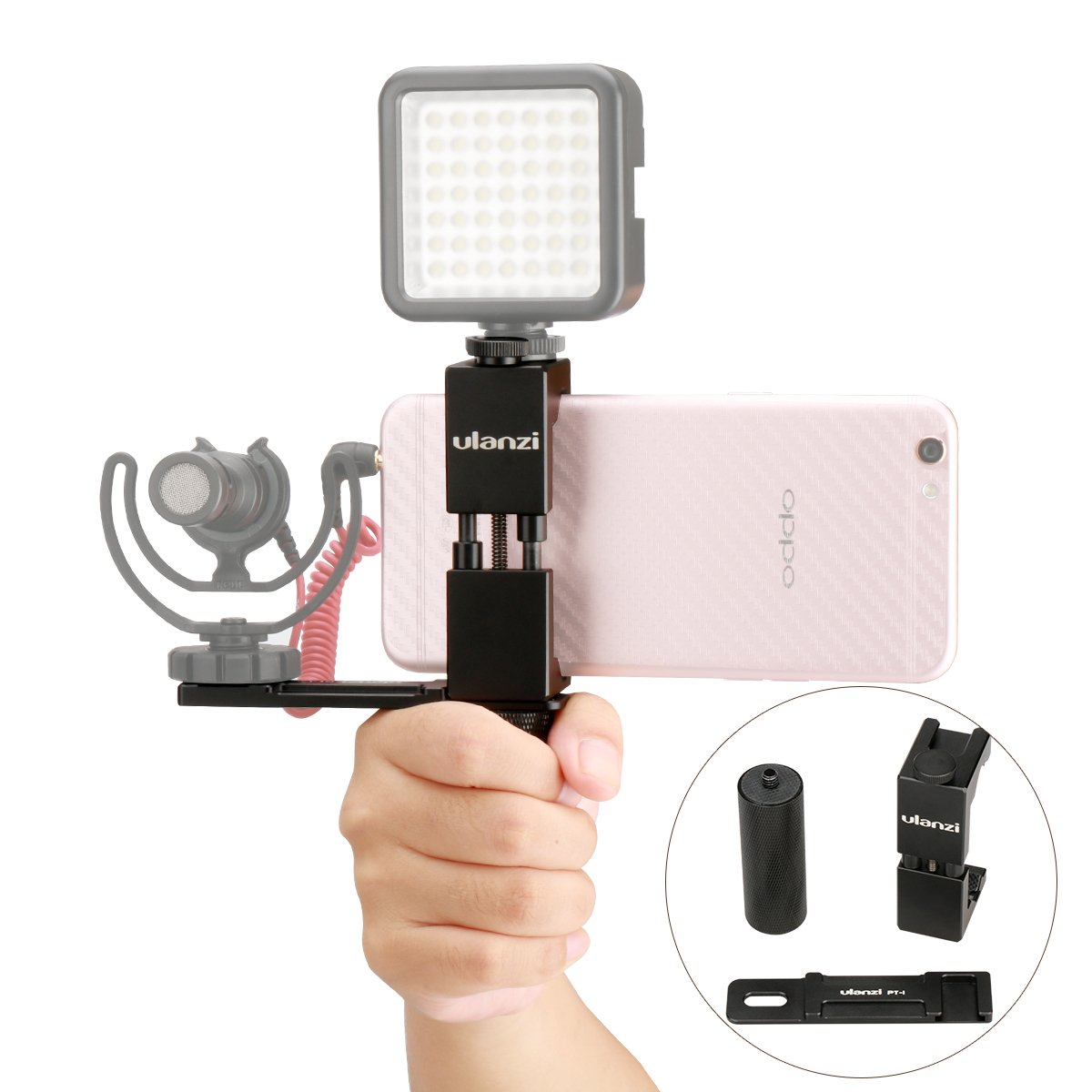 Ulanzi Smartphone Filmmaker Video Rig, Metal Phone Tripod Mount with Hot shoe + Metal Hand Grip Holder + Microphone Cold Shoe Plate Kit for iPhone Microphone BY-MM1 LED Video Light