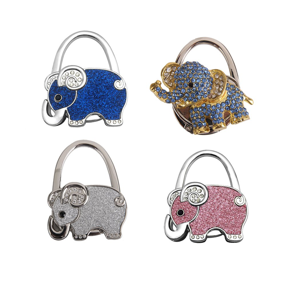 Jili Online 4 Pieces Elephant Shape Foldable Handbag Purse Hook Hanger Bag Ornament