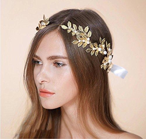 Greek Goddess Headband Gold Leaf Crown Headpiece - Roman Costume Accessories Bridal Wedding Headbands with Pearl Ribbon Tiara (Goddess Tiara)