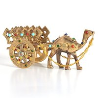 Home decorative Rajasthani Gemstone Studded Pure Brass Camel Handicraft with antique handmade stone work