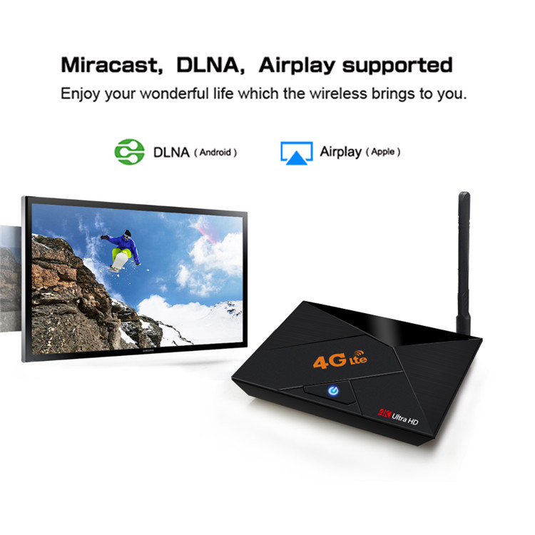 4K tv box 4G lte RK3229 2G 16G smart set top box with 2.4G wireless android 7.1 with 4G sim card