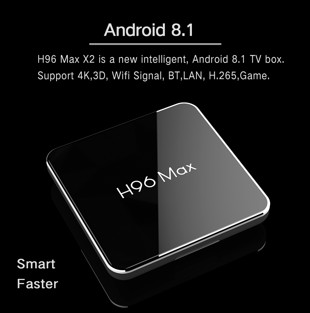 Factory Amlogic S905X2 TV BOX h96max x2 with 4GB RAM EMMC 32GB/64GB ROM smart set top box