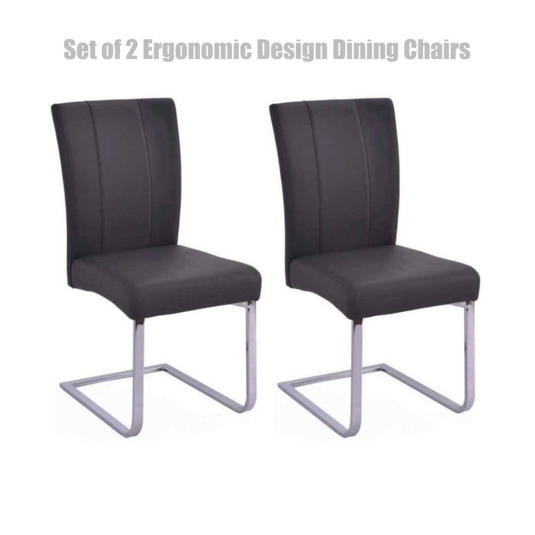 Get quotations · modern elegant design dining chairs leather accent durable stainless steel legs high density padded cushion high
