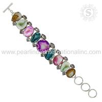 Beautiful multi gemstone bracelet 925 silver jewelry supplier handmade sterling silver jewelry