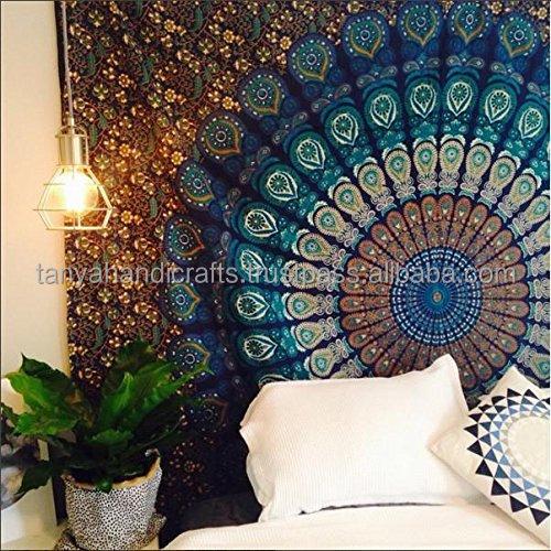 Pavão Indiano Mandala Hippie Pendurar Parede Tapeçaria jogar Boêmio Dormitório Decoração