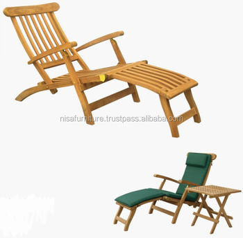 Classic Teak Steamer Chair Sun Lounger Teak Wood Outdoor Garden Furniture