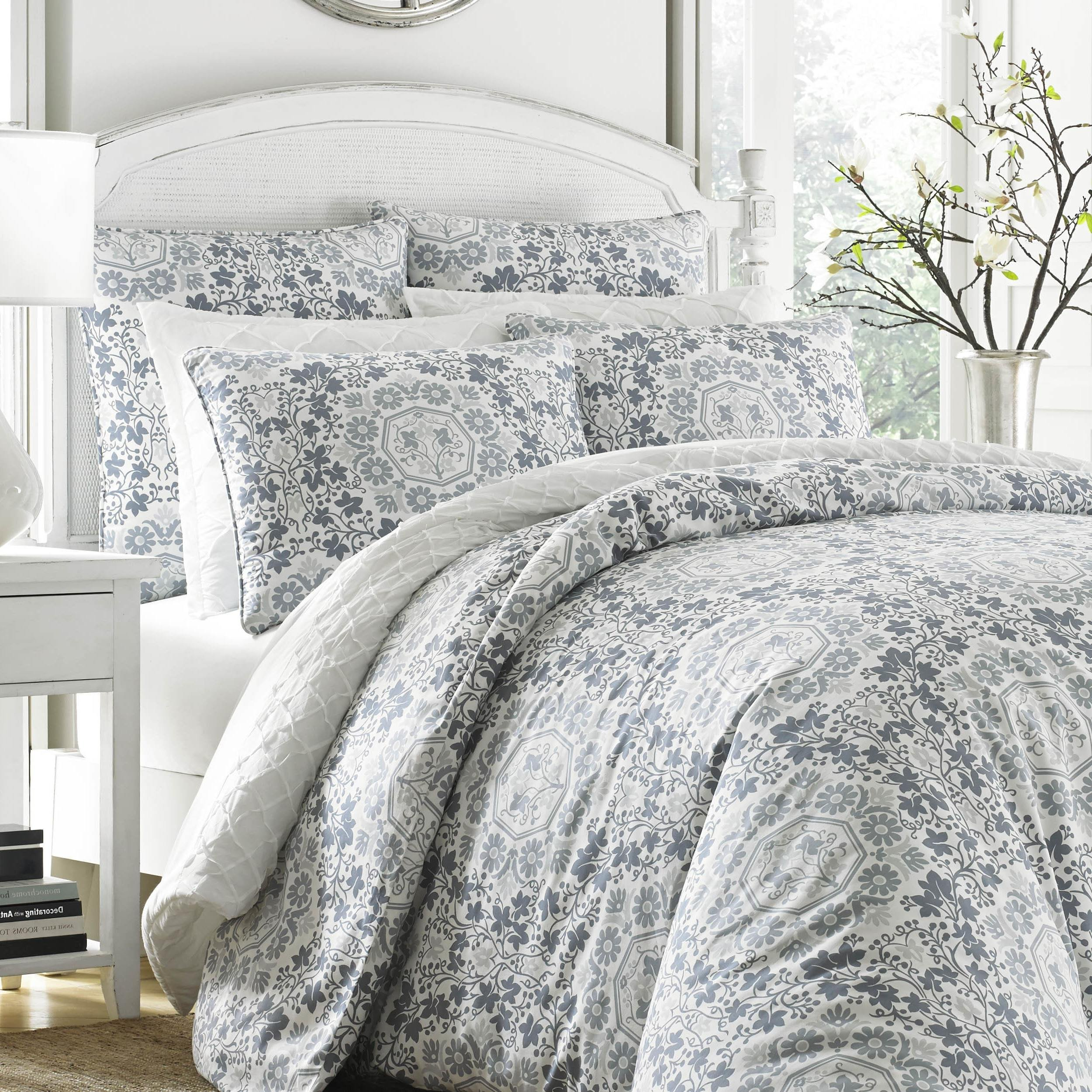 3 Piece Blue Grey Floral King Size Duvet Cover Set, Beautiful Geometrical Medallion Paisley Damask Flowers, Shabby Chic Bohemian White Modern Geometric Reversible Bedding, Cotton, Sateen Cotton