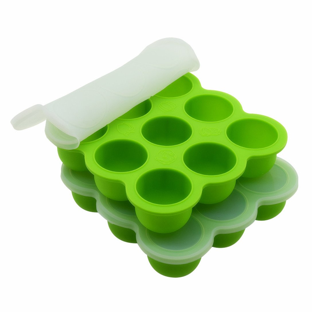 2Packs Instant Pot Accessories, Silicone Egg Bites Molds Fits Instant Pot 5,6,8 qt Pressure Cooker, 7Cups Baby Food Storage Freezer Trays with Clip-On Lid(Green)