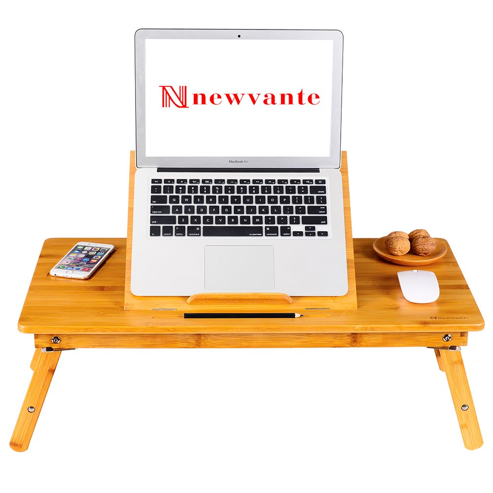 Large Size Laptop Tray Desk NNEWVANTE Bamboo Adjustable Table with USB Fan2 Foldable Breakfast Serving Right-left Hand Bed Tray