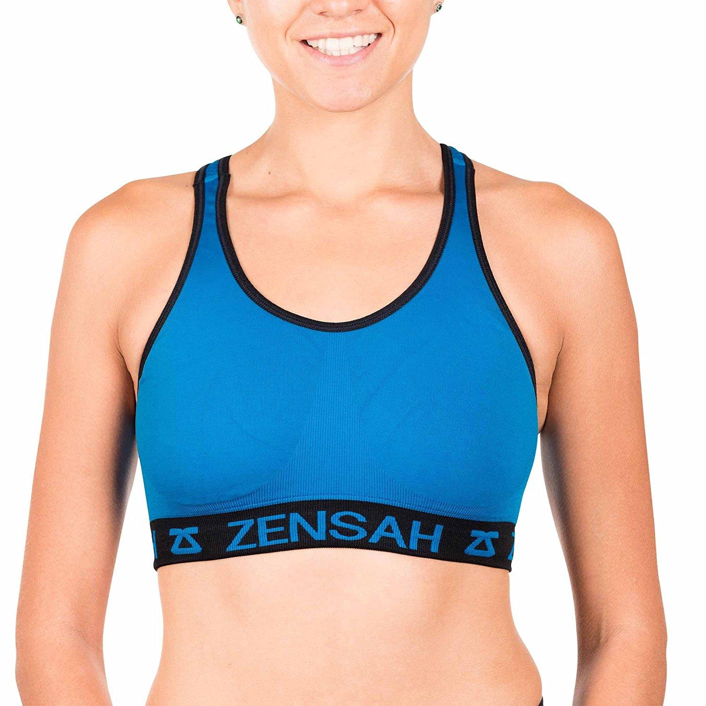 d53d0cbb4f672 Get Quotations · Zensah Womens Reversible Sports Bra - Seamless Sport Bra
