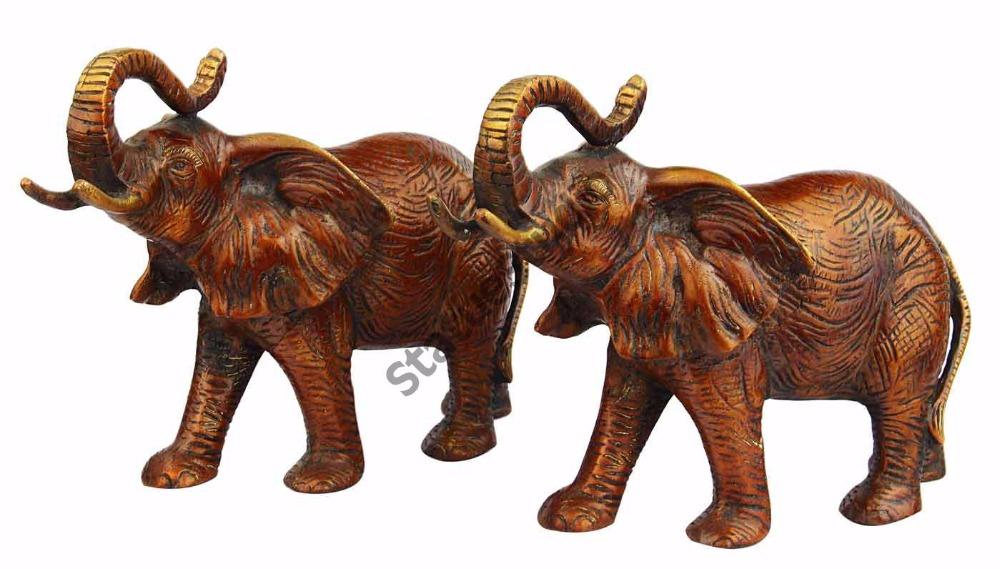 Feng Shui Brass animal india figurine hand carved wild elephant pair 7""