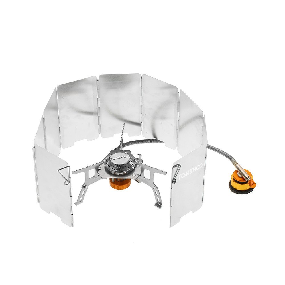 TOMSHOO Outdoor Camping Stove Kit Ultralight Compact Foldable Backpacking Gas Stove with 9-Plate Camp Stove Windscreen Windshield Gas Cartridge Adapter Cookware Set