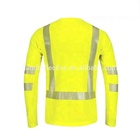 long sleeve reflective safety round collar t-shirt for man orange hi-vis t-shirt