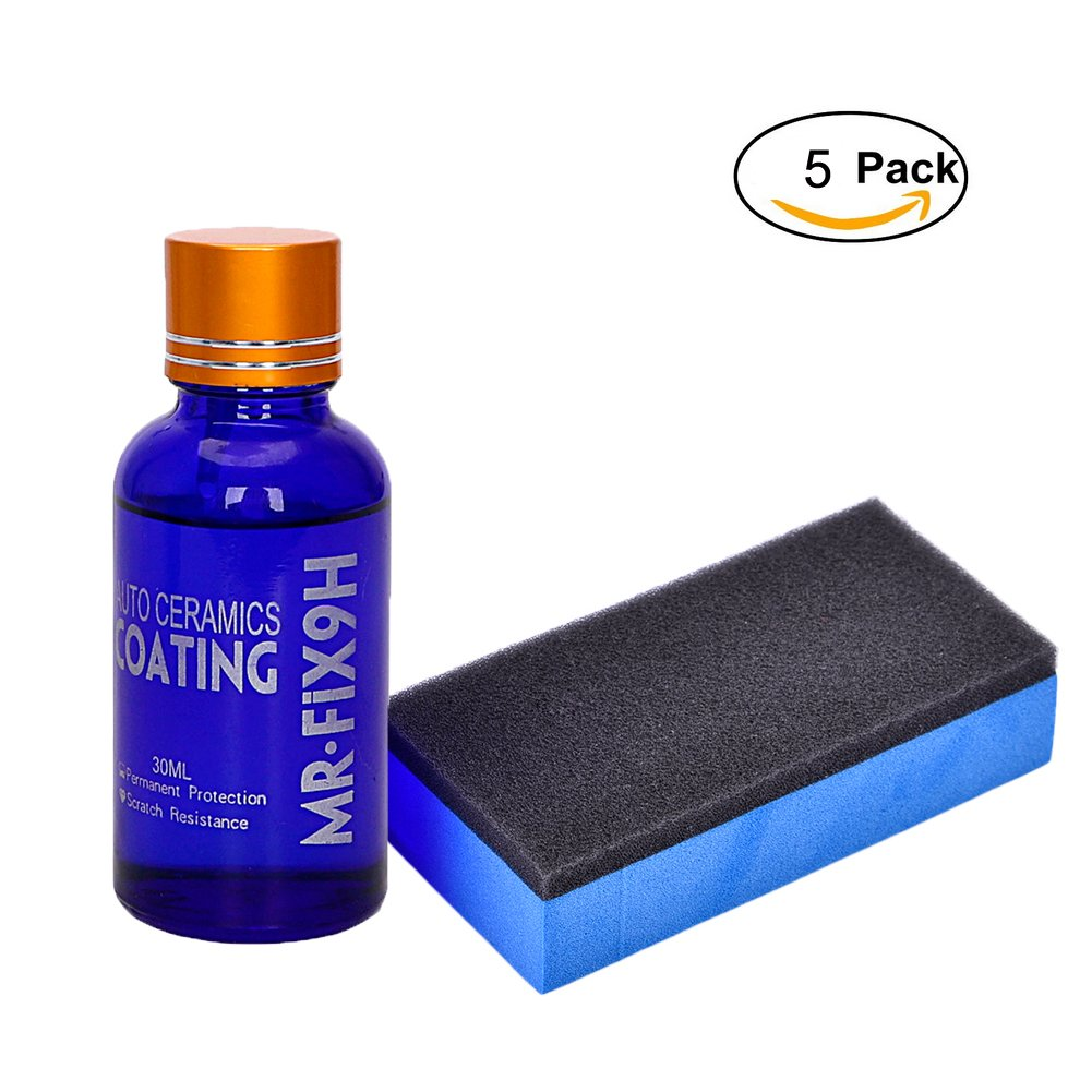 High Gloss Ceramic Car Coating Kit, Anti-scratch Ceramic Paint Coating 9H Hardness 30ML (5Pcs)