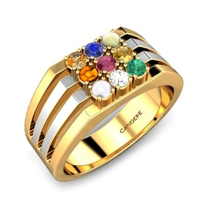 Navratan Gold Ring - 2019 summer jewelry collection available in Silver,  Gold or alloy, Indian Traditional Nine Piece Color Ston
