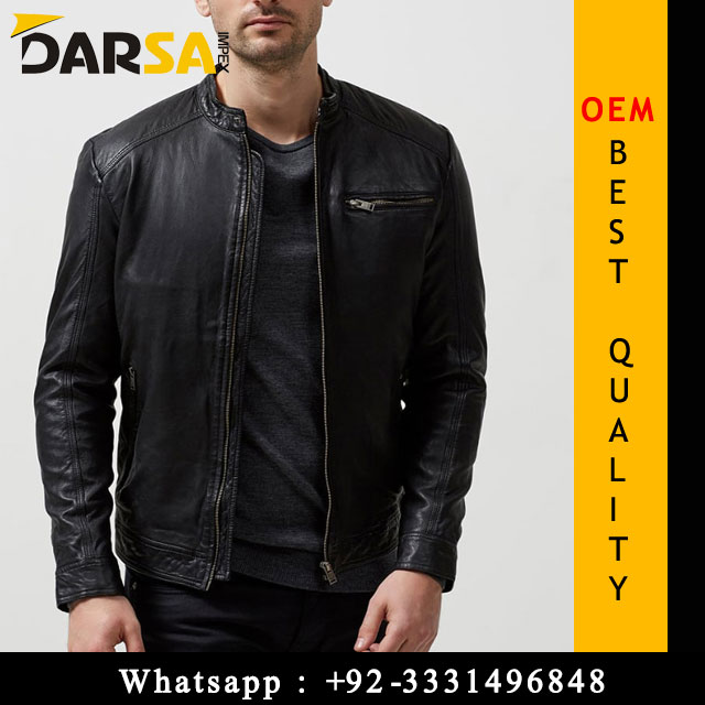 black stripped leather jacket for men zip style