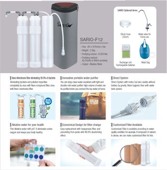 Small bag type water purifier, Portable water purifier, Alkaline water