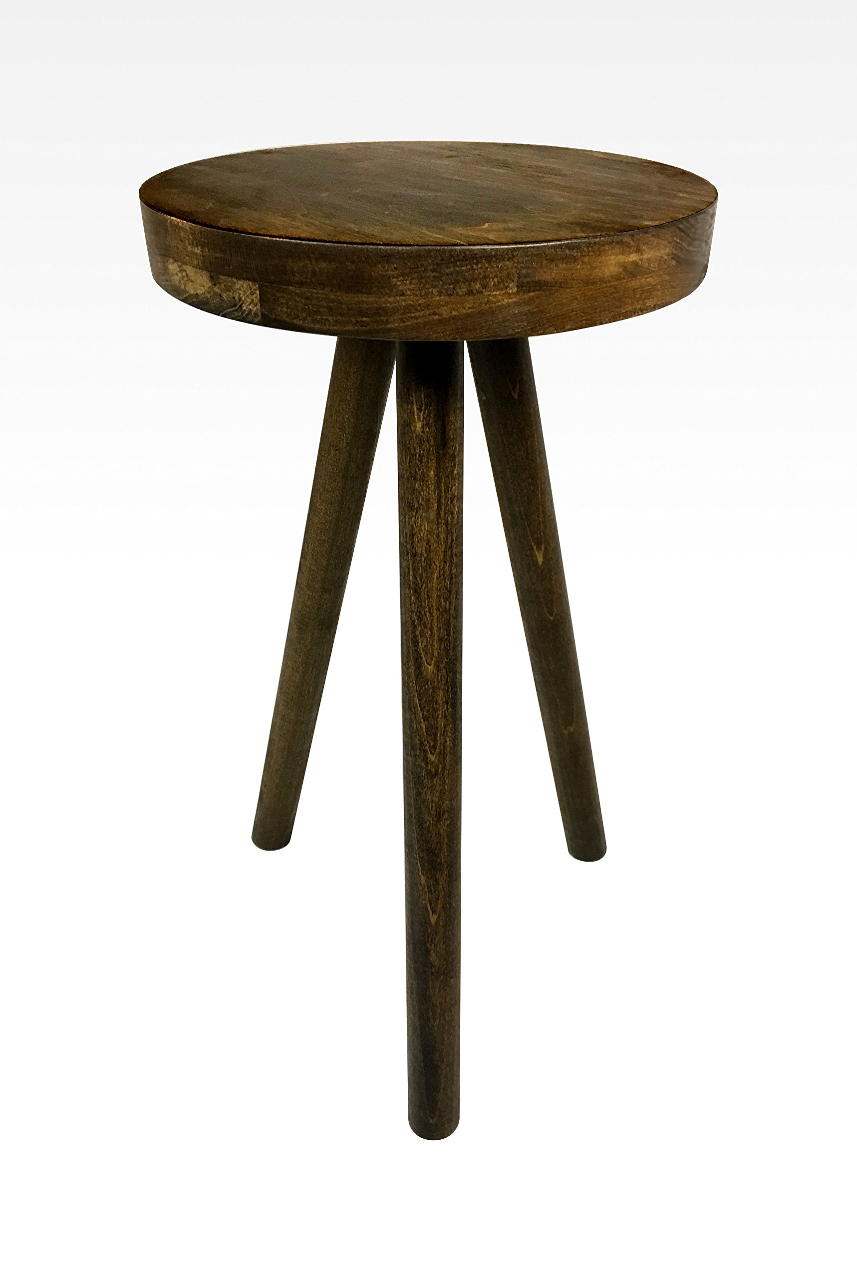Modern Side Table in Walnut by Candlewood Furniture End Table Bar Stool, Bedside Table, Nightstand, Wood, Wooden, Three Legged Table