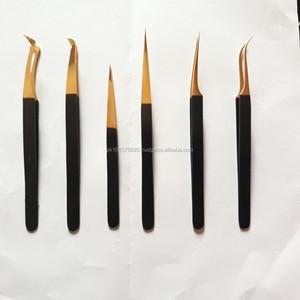 gold tweezer eyelash extension pointed eyelash extension tweezer