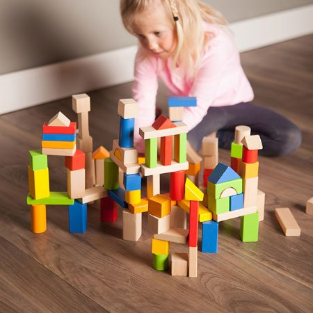 Fat Brain Toys 100 pc Block Set - Timber Blocks - 100 Piece Wooden Block Set