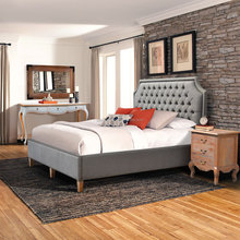 Bed Furniture Model Platform, Upholstered With Fabric, Tufted Head Board Grey Teak Wood
