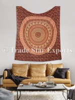 Flower Pattern Queen Size Mandala Tapestry Hippie Wall Decor Indian Cotton Bedspread