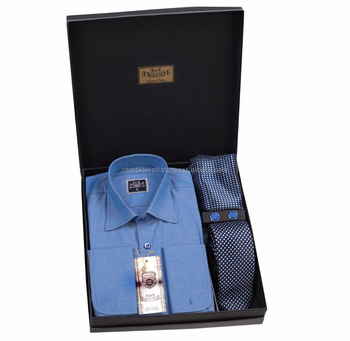 Blue Gift Box, shirt box tie set, set French cuflin shirt in box