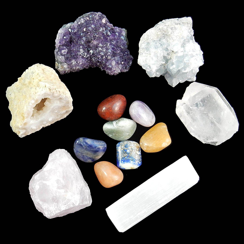 13 pcs Chakra Crystal Sampler Set / Healing Kit: 6 Minerals-Amethyst Cluster, Raw Rose Quartz, Crystal Point, Selenite Blue Celestite and Half Geode + Plus 1 Bag of 7 Chakra tumbled Stones