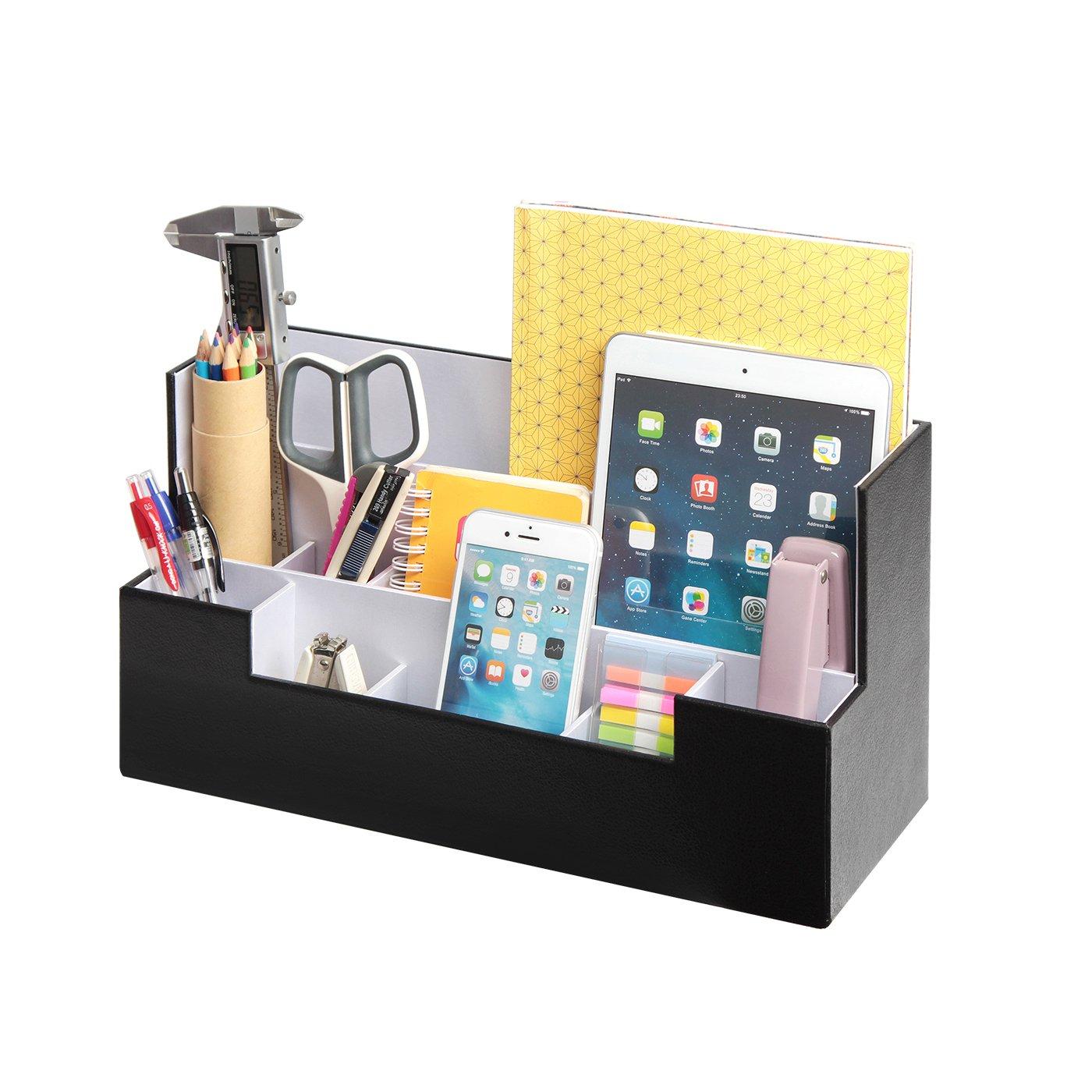 Desk Supplies Office Organizer Caddy (Black, 13.4 x 5.1 x 7.1 inches) JackCubeDesign-:MK268A