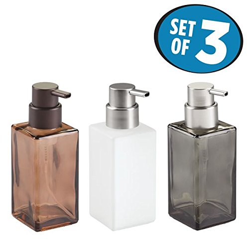 mDesign Foaming Glass Soap Dispenser Pump, Three-Piece Bathroom Accessory Set – Frosted/Brushed, Smoke/Brushed, Sand/Bronze