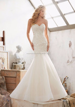 HOT All Time Crystal Beaded Lace Glamorous White Mermaid Wedding Dress