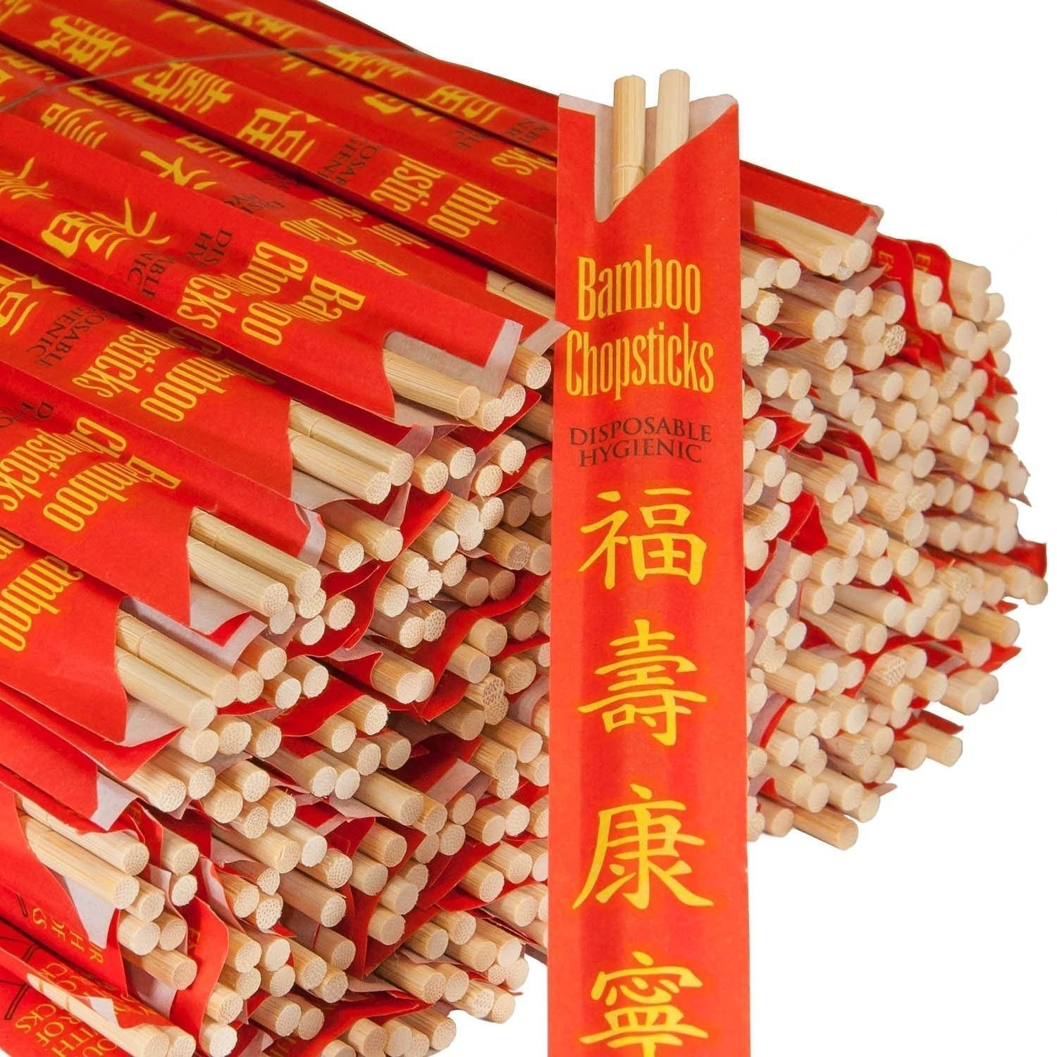 RG Paper Premium Disposable Bamboo Chopsticks Sleeved and Seperated (200)