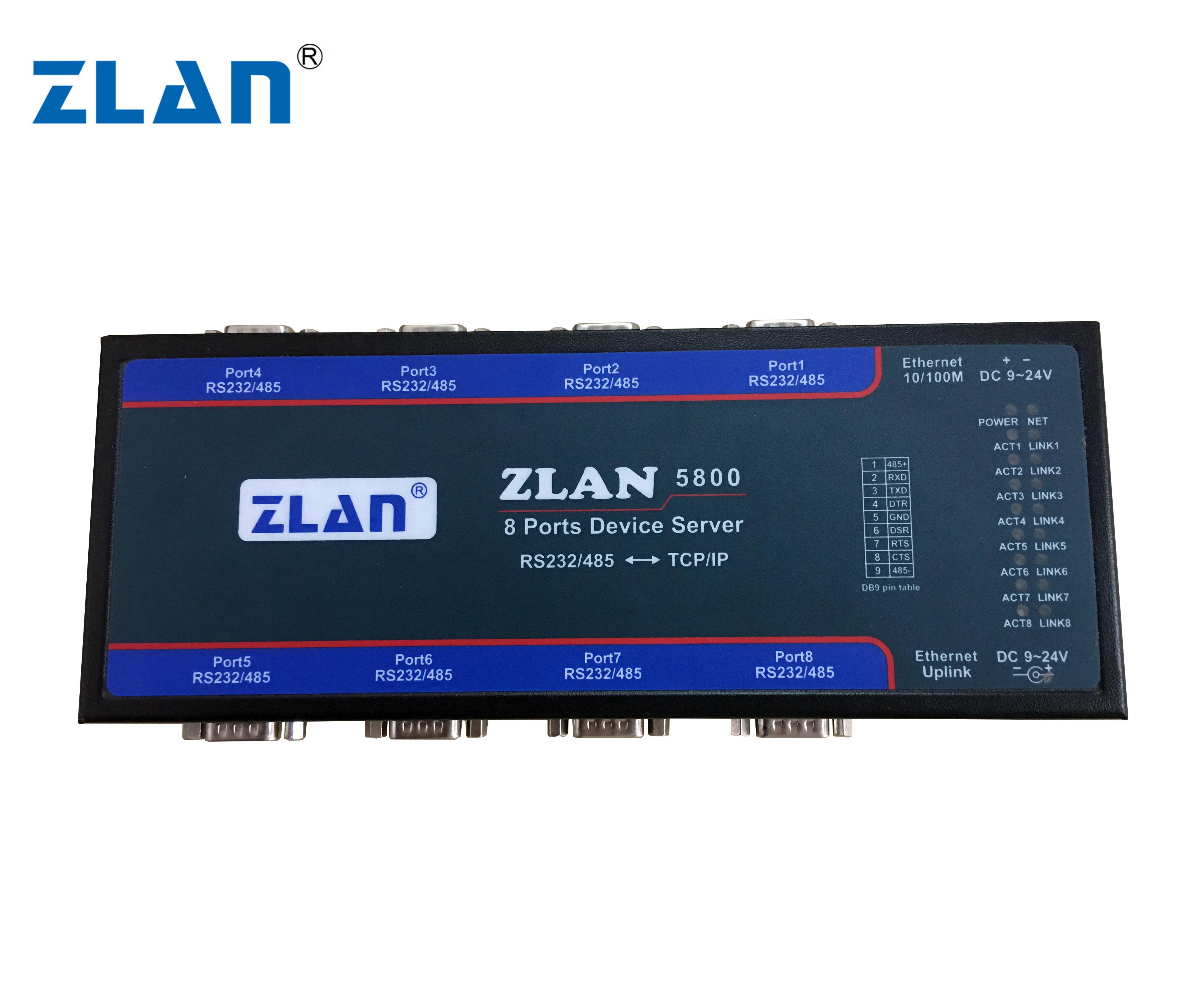 Zlan5800 8 Port Rs232 Rs485 To Ethernet Converter Industrial Multiple  Serial Device Server Switch - Buy 8 Port Serial Server,Ethernet Rs485