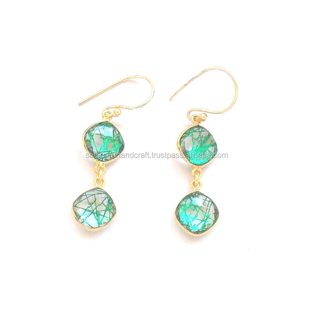 Beautiful Green Rutile 24 k Gold Plated Handmade Cushion Shape Earring