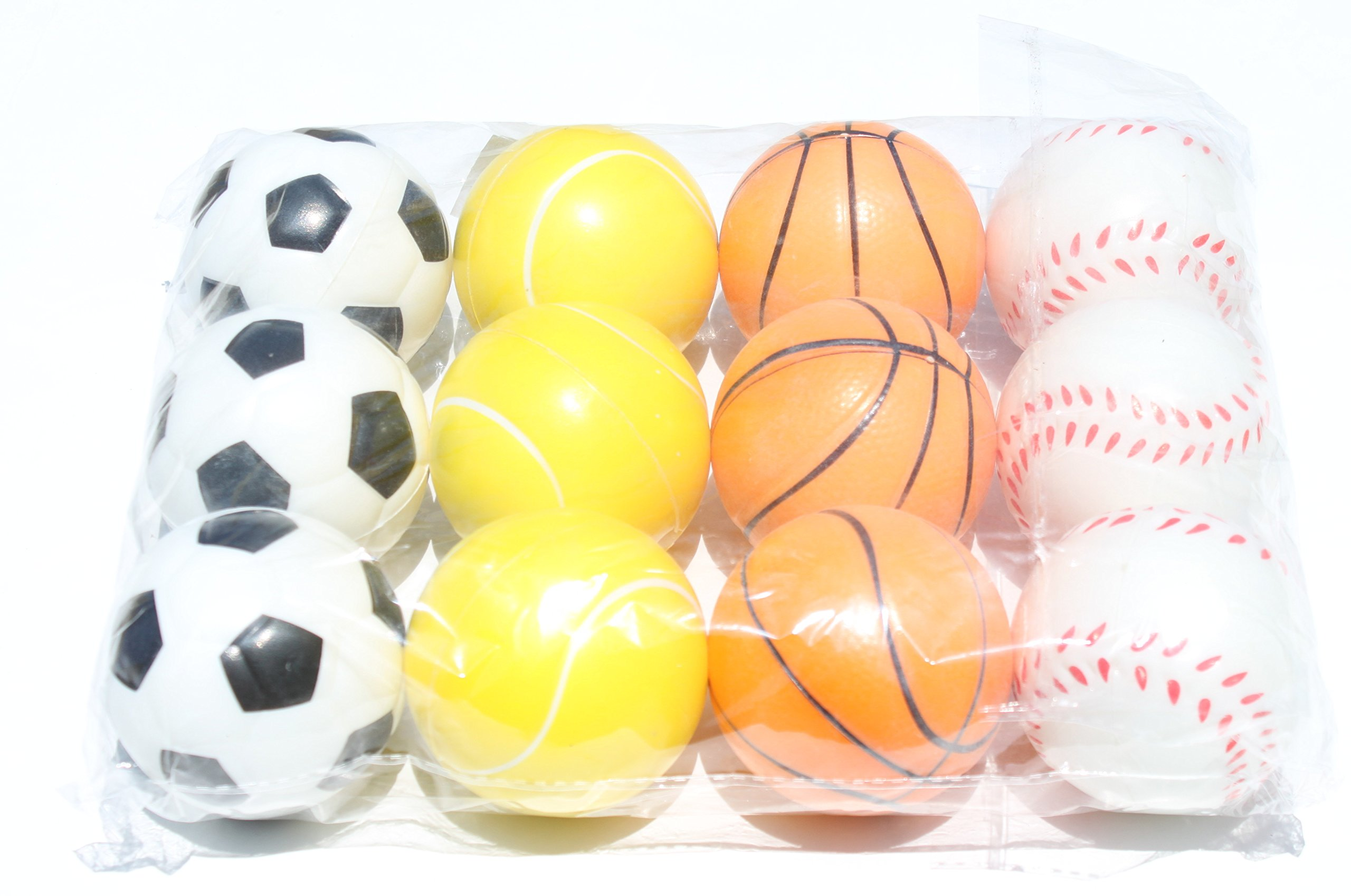 12 Sports Squeeze Ball (Soccer Basket Tennis Base Ball)- Stress Relief Finger Therapy After Hand Exercise Grip Ball