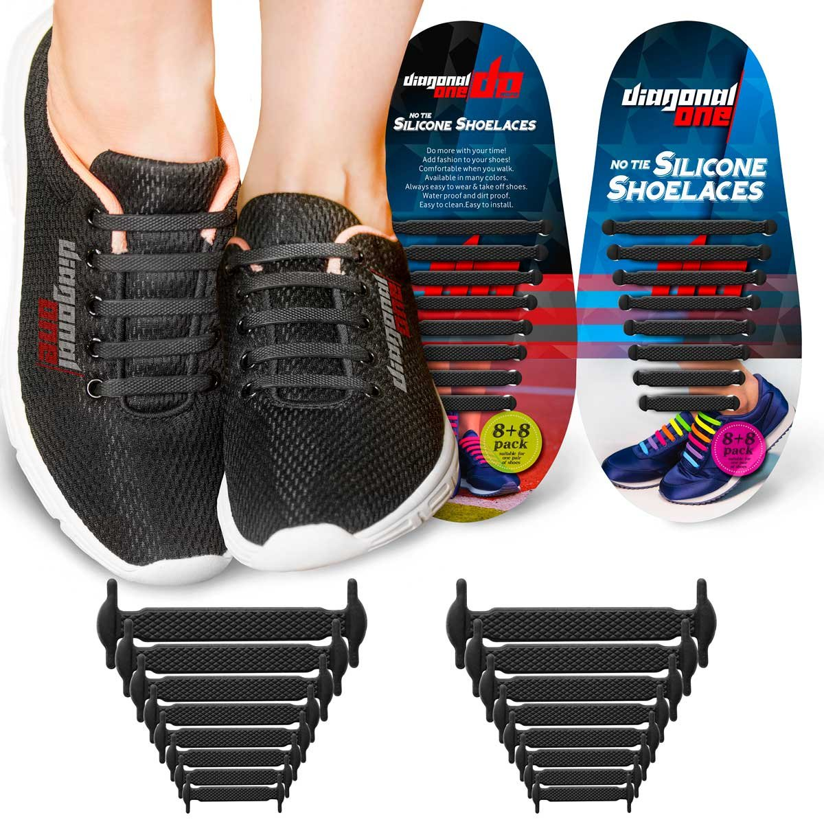 185844e7924 Get Quotations · Diagonal One No Tie Shoelaces for Kids   Adults. THE  Elastic Silicone Shoe Laces to