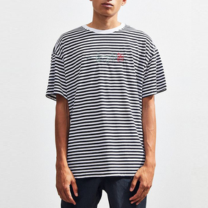 Men Drop Shoulder Oversize Tee Basic White And Black Stripe Embroidered Rose T-Shirts