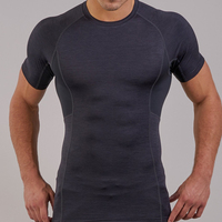 2018 Fashion Mens Compression Tight Short Sleeve Shirts Base Layers Skinny T Shirts Male Sport Workout Fitness Training Gym Wear