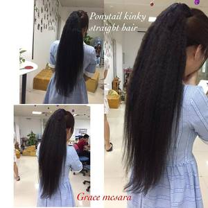 ponytail kinky straight human hair extension