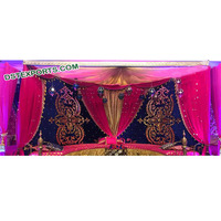 Mughal Style Mehndi Stage Embrodried Backdrops, Royal Indian Wedding Stage Backdrop Curtains, Wedding Backdrop Decoration