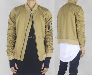 Cool Bomber Jacket Men Streetwear Hip Hop Bomber Flight Jacket Tan