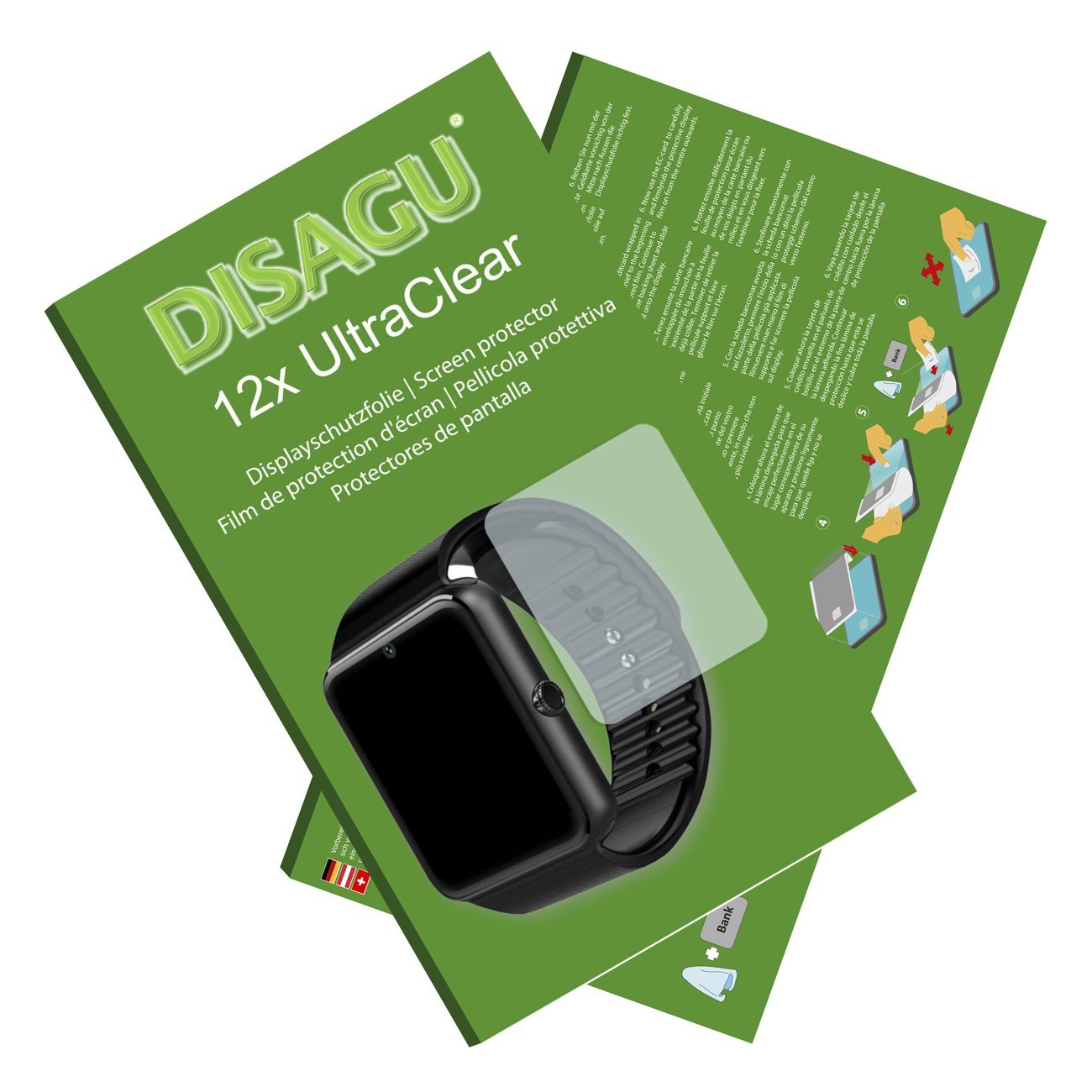 "DISAGU 12x Ultra Clear Screen Protector for LaTEC 1.54"" Bluetooth Smart Watch (intentionally smaller than the display due to its curved surface)"