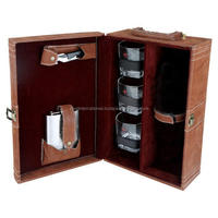 luxurious leather travel bar set