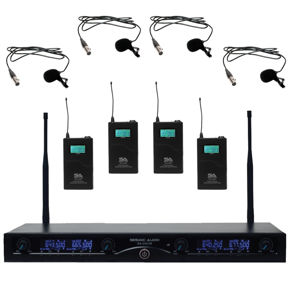 Seismic Audio SA-U4LV6 4 Channel UHF Wireless Microphone System with 4 Lavalier Wireless Microphones