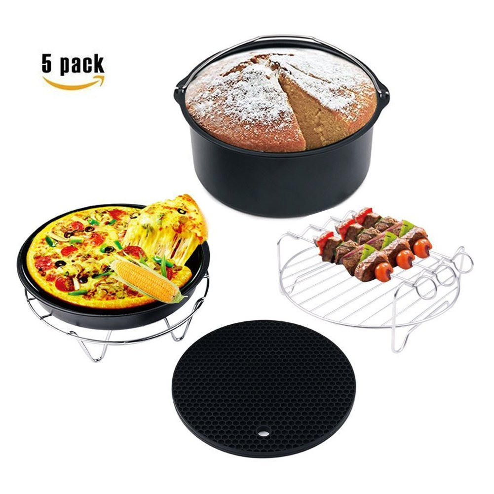 Deep Fryers Universal Air Fryer Accessories, 5 pcs Universal Air Fryer Accessories Set Fit all 3.0QT,3.7QT,5.3QT,5.8QT,compatible for Gowise, Phillips, Cozyna and More Brand