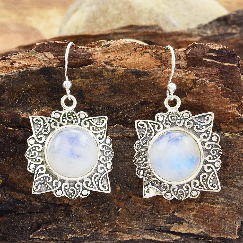 2017 Vintage silver jewelry rainbow moonstone earring wholesale jewelry 925  sterling silver earring jewelry india