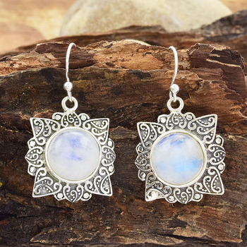 2017 Vintage Silver Jewelry Rainbow Moonstone Earring Whole 925 Sterling India