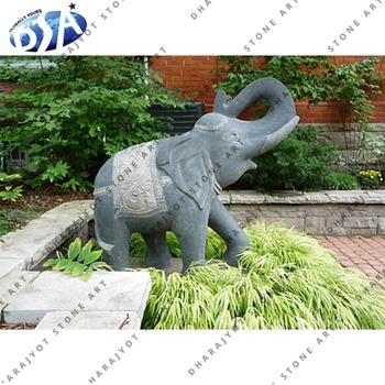 Antique Grey Marble Exterior Garden Large Elephant Decor Statue