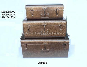 Iron Storage Trunks With In Antique Brass Powder Coating
